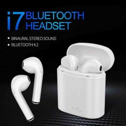 i7 double dual mini earphone with power case - whi